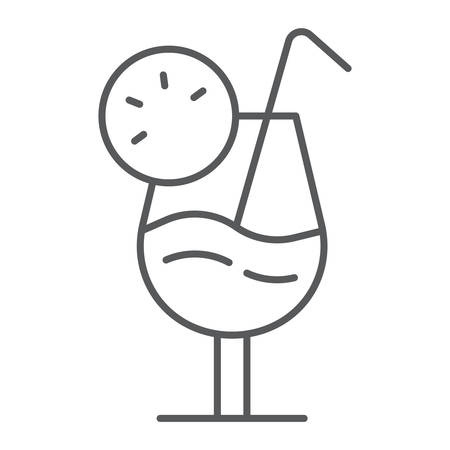 Cocktail thin line icon, alcohol and beverage, drink sign, vector graphics, a linear pattern on a white background.