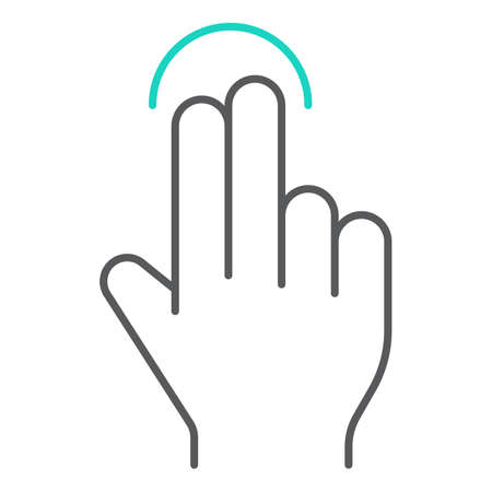 Two finger tap thin line icon, gesture and hand, touch sign, vector graphics, a linear pattern on a white background, eps 10.