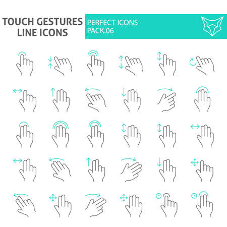 Touch gestures thin line icon set, click symbols collection, vector sketches, illustrations, swipe signs linear pictograms package isolated on white background. Vettoriali