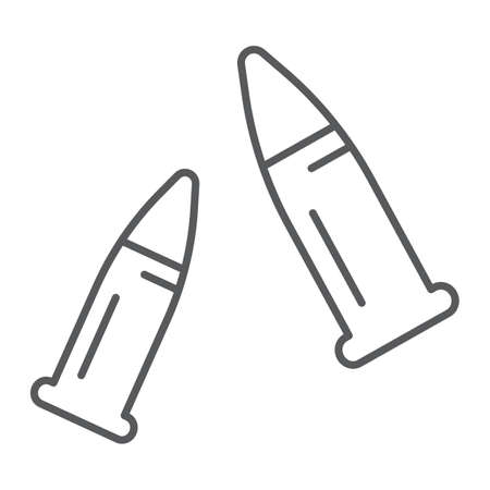 Bullets thin line icon, ammo and caliber, ammunition sign, vector graphics, a linear pattern on a white background.