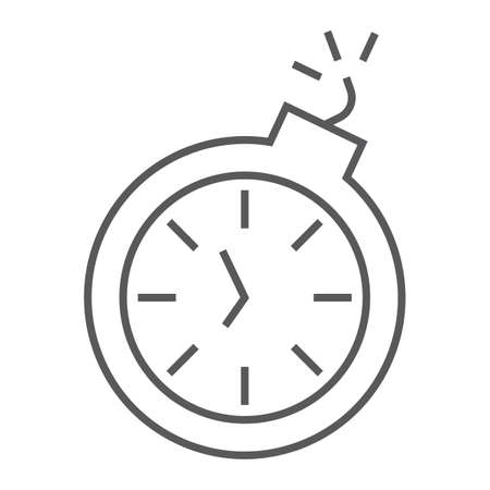 Deadline thin line icon, time and clock, stopwatch 向量圖像