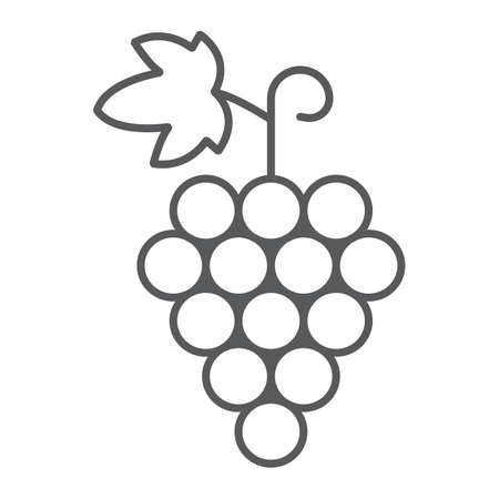 Grapes thin line icon, fruit and vitamin