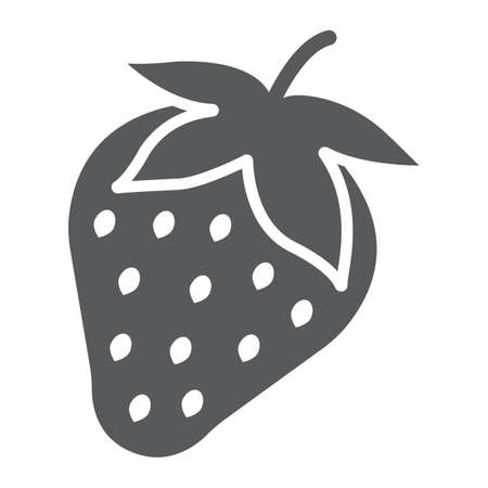 Strawberry glyph icon, fruit and vitamin, berry sign, vector graphics, a solid pattern on a white background, eps 10.