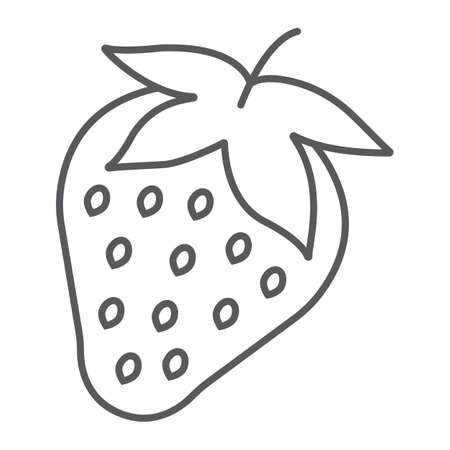Strawberry thin line icon, fruit and vitamin, berry sign, vector graphics, a linear pattern on a white background, eps 10.