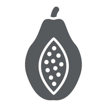 Papaya glyph icon, fruit and vitamin, diet sign, vector graphics, a solid pattern on a white background, eps 10. Иллюстрация