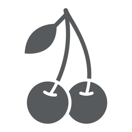 Cherry glyph icon, fruit and vitamin, diet sign, vector graphics, a solid pattern on a white background, eps 10.