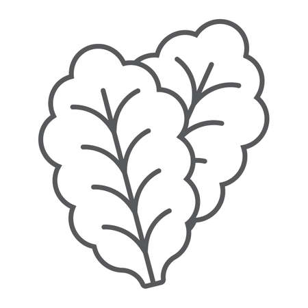 Leaf Lettuce thin line icon, vegetable and diet, vegetarian sign, vector graphics, a linear pattern on a white background, eps 10. Ilustración de vector