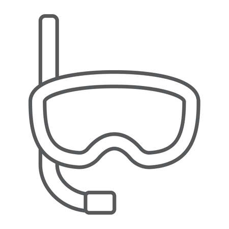 Diving mask thin line icon, diving and underwater