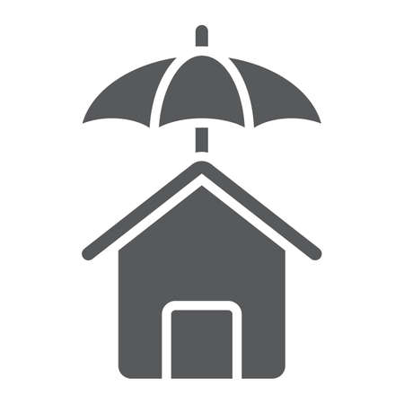 House protection glyph icon, Real estate and home, insurance sign vector graphics, a solid pattern on a white background, eps 10.