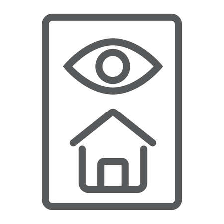 Home inspection line icon, real estate and home, inspect sign vector graphics, a linear pattern on a white background, eps 10. Çizim