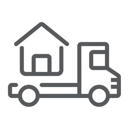 Truck delivers the house line icon, real estate and home, home delivery vector graphics, a linear pattern on a white background, eps 10.