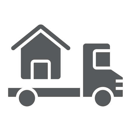 Truck delivers the house glyph icon, real estate and home, home delivery vector graphics, a solid pattern on a white background, eps 10. Illustration