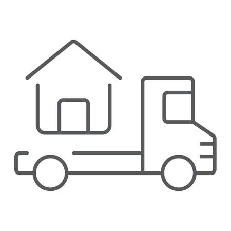 Truck delivers the house thin line icon, real estate and home, home delivery vector graphics, a linear pattern on a white background, eps 10.