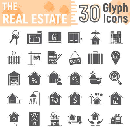 Real Estate glyph icon set, home signs collection