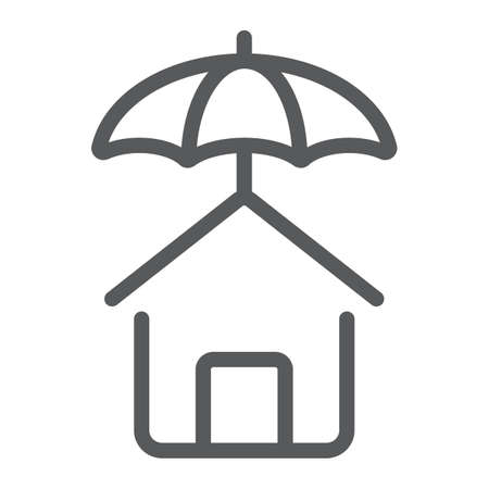 House protection line icon, Real estate and home, insurance sign vector graphics, a linear pattern on a white background, eps 10.