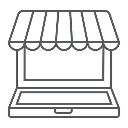 Marketplace online thin line icon, e commerce Illustration