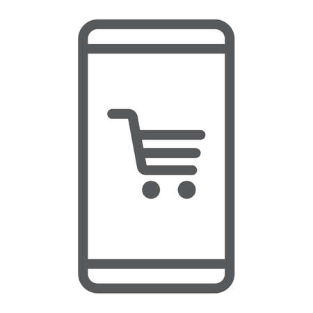Smartphone with open store application line icon