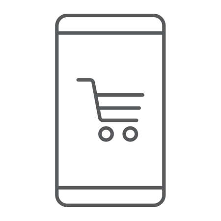 Smartphone open store application thin line icon Иллюстрация