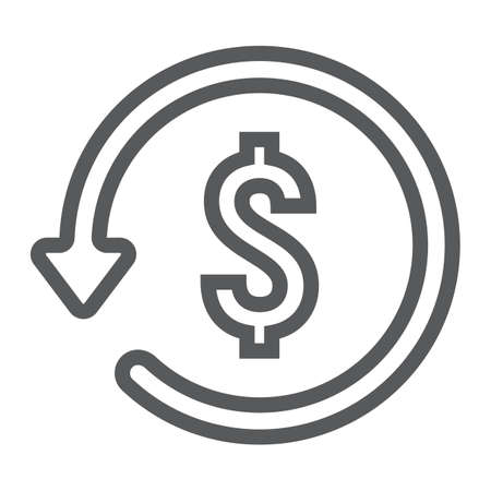 Chargeback line icon, e commerce