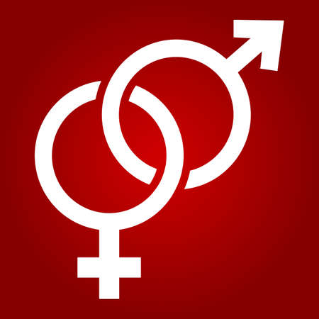 Heterosexual glyph icon, valentines day and romantic, gender sign vector graphics, a solid pattern on a red background.