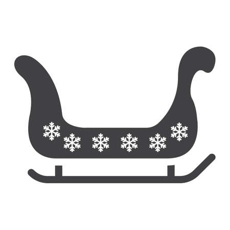 Santa sleigh glyph icon, New year and Christmas, xmas sled sign vector graphics, a solid pattern on a white background. Illustration