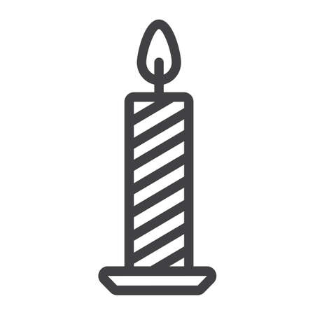 Christmas candle line icon, New year and Christmas, xmas sign vector graphics, a linear pattern on a white background, eps 10. Иллюстрация