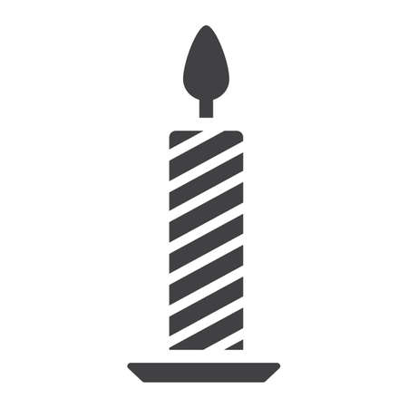Christmas candle glyph icon, New year and Christmas, xmas sign vector graphics, a solid pattern on a white background, eps 10. Иллюстрация