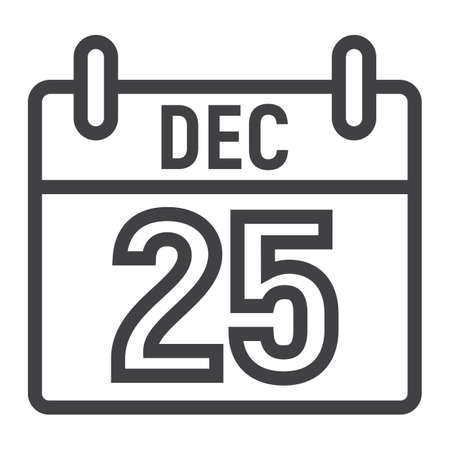 Christmas calendar line icon, New year and Christmas, xmas sign vector graphics, a linear pattern on a white background.