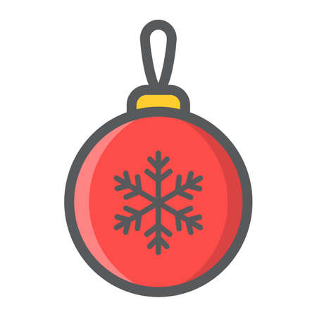 Christmas tree ball filled outline icon, New year and Christmas, xmas sign vector graphics, a colorful line pattern on a white background, eps 10.