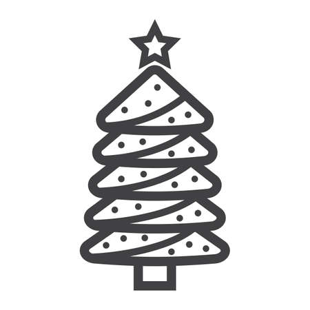 Christmas tree line icon, New year and Christmas, xmas sign vector graphics, a linear pattern on a white background. Vectores