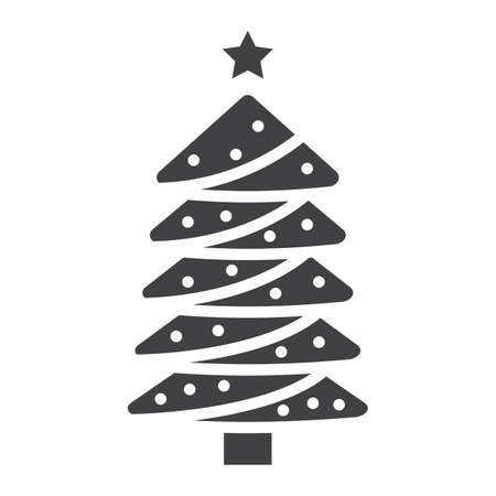 Christmas tree glyph icon, New year and Christmas, xmas sign vector graphics, a solid pattern on a white background.