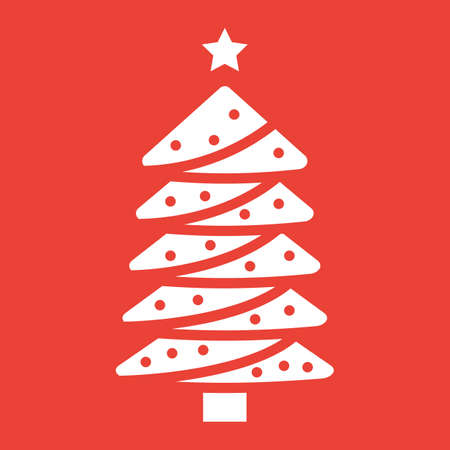 Christmas tree glyph icon, New year and Christmas, xmas sign vector graphics, a solid pattern on a red background