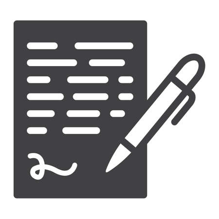 Pen signing solid icon, business contract and signature, vector graphics, a glyph pattern on a white background, eps 10. Vector Illustratie