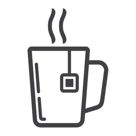 Mug of tea line icon, business and breakfast, vector graphics, a linear pattern on a white background.