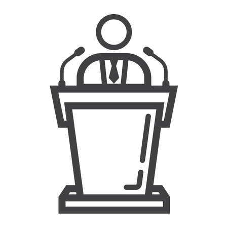 Speaker line icon, business and tribune, vector graphics, a linear pattern on a white background.