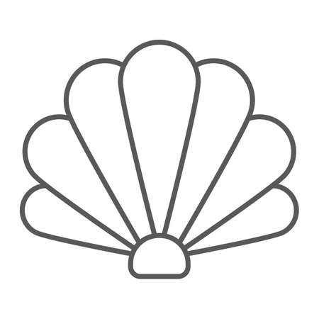 Shell thin line icon, ocean and beach, seashell sign vector graphics, a linear icon on a white background, eps 10.