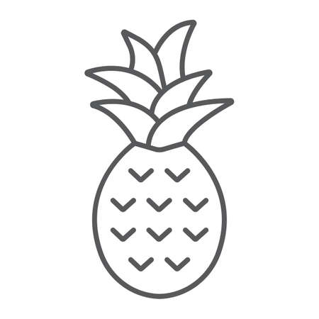 Pineapple thin line icon, fruit and tropical, ananas sign vector graphics, a linear icon on a white background, eps 10.