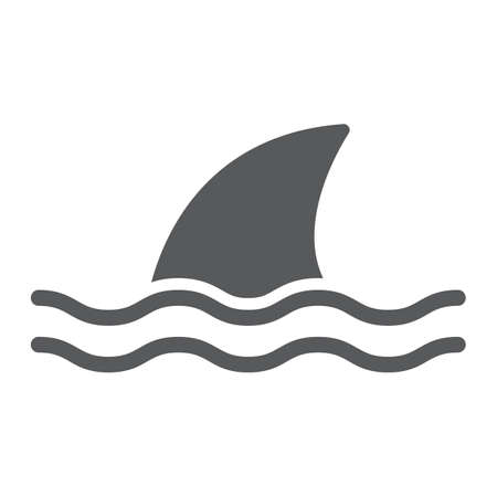 Shark glyph icon, ocean and predator, dangerous fish sign vector graphics, a solid icon on a white background, eps 10. 向量圖像
