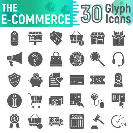 E-commerce glyph icon set, shopping symbols collection, vector sketches, logo illustrations, buy signs solid pictograms