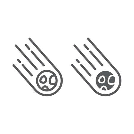 Asteroid line and glyph icon, space and meteor, meteorite sign, vector graphics, a linear pattern on a white background.