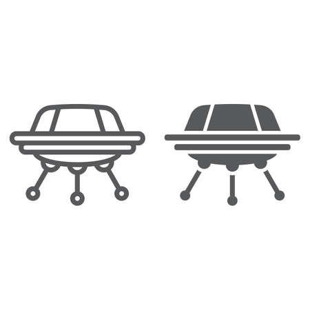UFO line and glyph icon, space and spacecraft, spaceship sign, vector graphics, a linear pattern on a white background. Vectores