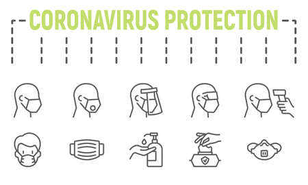 Medical Safety equipments line icon set, coronavirus protection symbols collection, vector sketches, logo illustrations, covid-19 protection equipments icons, medical masks signs linear pictograms