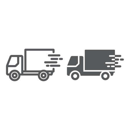 Fast shipping delivery line and glyph icon, logistic and delivery, truck sign vector graphics, a linear icon on a white background Vectores