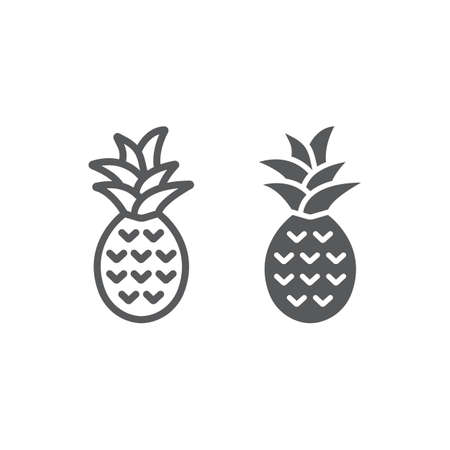 Pineapple line and glyph icon, fruit and tropical,  vector graphics, a linear icon on a white background