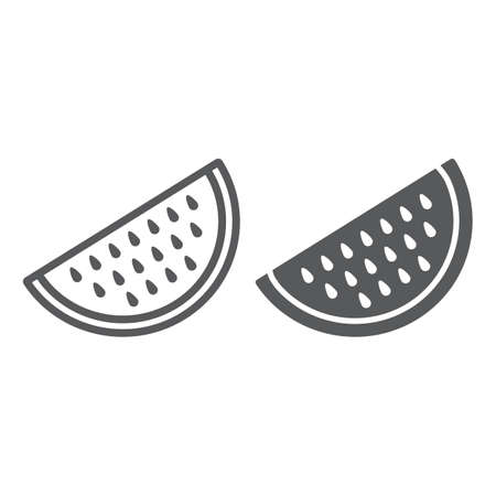 Watermelon line and glyph icon, juicy and tasty, watermelon sign vector graphics, a linear icon on a white background