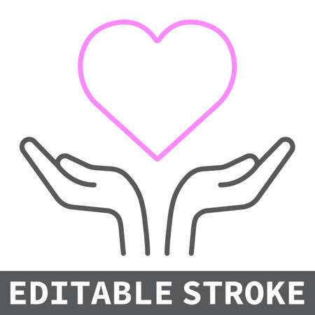 Heart in open hands color line icon, lgbt and heart, free love sign vector graphics, editable stroke linear icon
