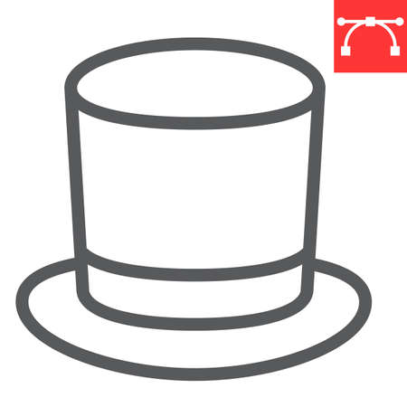 Cylinder hat line icon, clothing and classic, gentleman hat sign vector graphics, editable stroke linear icon Vettoriali
