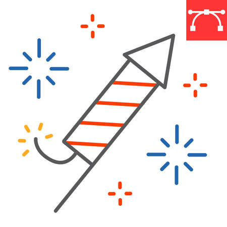 Firework rocket color line icon, independence day and christmas, firecracker sign vector graphics, editable stroke linear icon