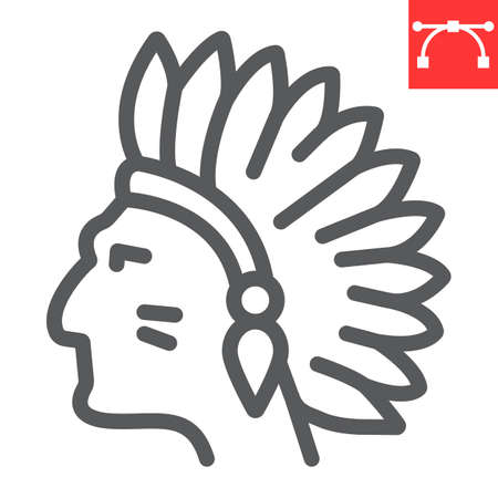 Injun line icon, america and navajo, redskin sign vector graphics, editable stroke linear icon