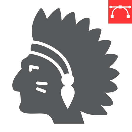 Injun glyph icon, america and navajo, redskin sign vector graphics, editable stroke solid icon